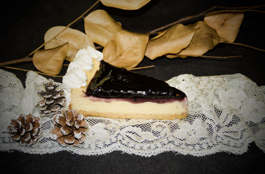 a slice of blueberry cream cheese cake Blueberry Cheesecake Copy Space Celebration Event Christmas Treats Sweets Christmas Dinner Christmas Cake Pastry Slice Of Cake Indoors  No People Close-up Day