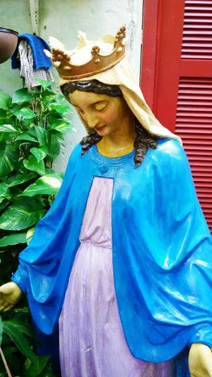 Virgen María Metal Sculpture Antique Sculpture Second World War Second World War Relic This statue made out of iron, originally came from France. You can see bullets marks of this Virgin. Makes you think someone, perhaps a soldier, protected himself behind de idol. Patio De Solé Restaurant Santurce PR