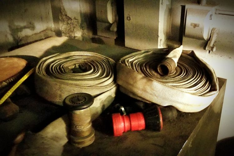 high pressure hoses Industrial Utility Plant Tools Close-up Rolled Up Roll
