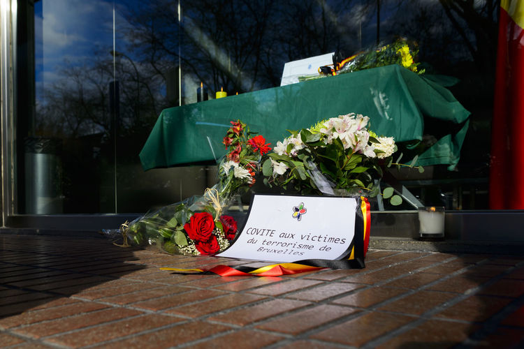 Flowers on sidewalk at embassy building