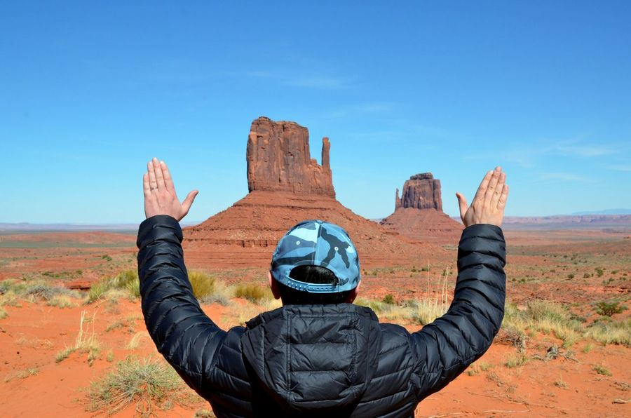 Paying respects to Left Mitten and Right Mitten buttes at Monument Valley. The Great Outdoors - 2016 EyeEm Awards The Essence Of Summer Beautiful Nature Nature's Diversities Southwest Desert Landscapes The Great Southwest Epic Landscapes Monument Valley Butte Landmarks Landscape_photography EyeEm Best Shots - Landscape Desert Beauty Rocky Terrain Amazing Views Bucket List Red Sand The Following Adventure Club Finding New Frontiers Miles Away Monument Valley, Navajo Nation Breathing Space Investing In Quality Of Life