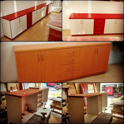 Office credenzas ready! Red/white and Arce. Credenzas para oficina listas! Alfredbass Carpentry Beardcarpenter