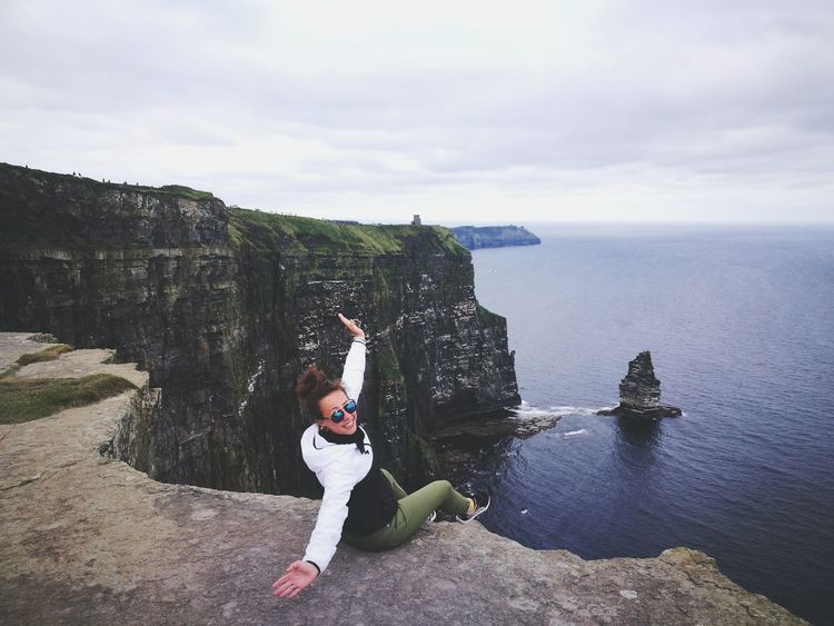 One Person Adults Only Standing One Woman Only Only Women People Full Length Adult Day Outdoors Sky Sea Leisure Activity Horizon Over Water Cloud - Sky Nature Women Water One Young Woman Only Young Adult Travel Cliffs Dublin Cliffofmoher Trip Lost In The Landscape
