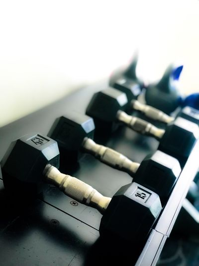 Power Fitness Weightlifting Dumbbell Gym Gym Time Focus On Foreground Connection Still Life