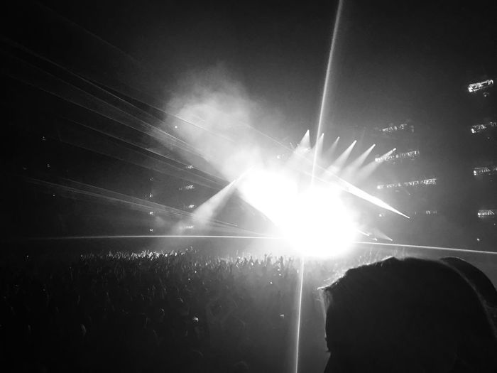 Blackandwhite Enjoyment Lens Flare Large Group Of People Arts Culture And Entertainment Crowd Real People Stage Light Performance Popular Music Concert Audience Stage - Performance Space