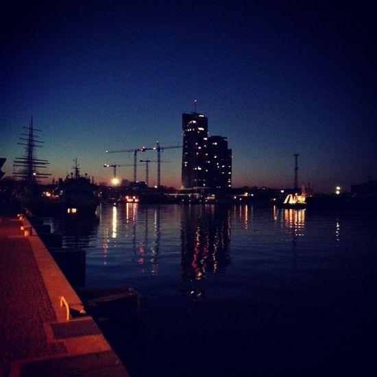 Gdynia by Night Tallship Seatowers lights cranes evening