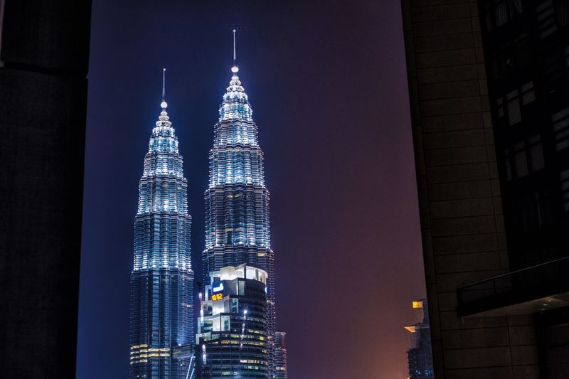 The Twin Tower, LKCC, Malaysia Klcc TallBuilding Tallest Highrise Architecture Built Structure Building Exterior Tower Building Night Travel Destinations Office Building Exterior Tall - High Skyscraper Illuminated City Tourism Sky Modern Low Angle View Travel Spire