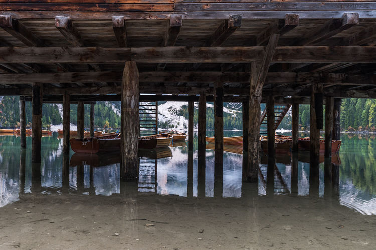 Underneath Reflection Architecture Building Built Structure Day Lake Nature Pier Reflection Underneath Water Wood - Material