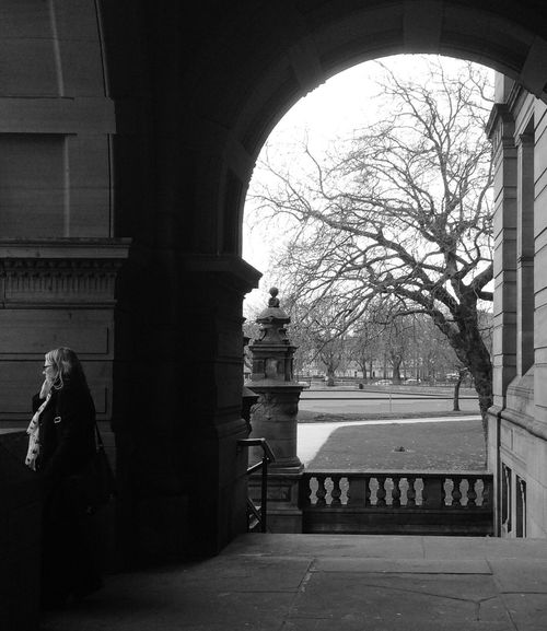 Architecture Built Structure Arch Building Exterior Tree Real People Architectural Column Day Bare Tree Outdoors Statue One Person Glasgow  KelvingroveArtGalleries Kelvingrove Black And White Blackandwhite Bnw Monochrome