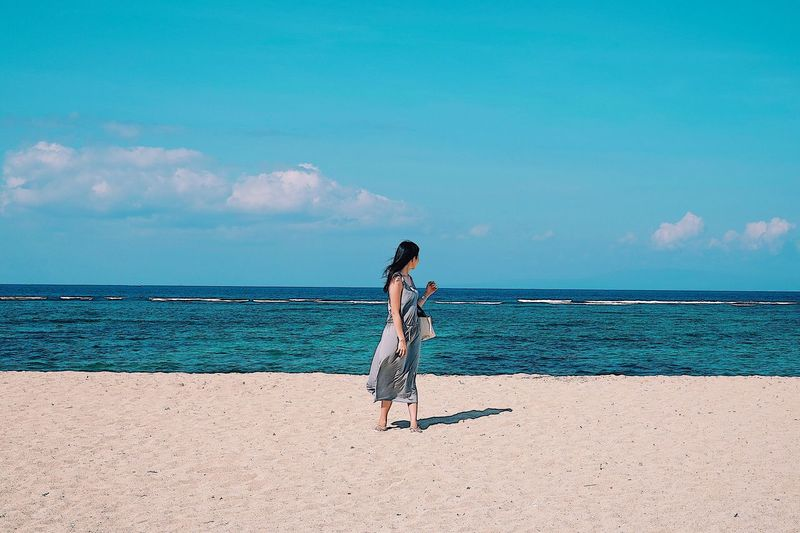 Sea Beach Sand One Person Full Length Standing Sky Beauty In Nature Nature Water Horizon Over Water Tranquil Scene Scenics Young Adult Real People Tranquility Vacations Leisure Activity Young Women Outdoors EyeEmNewHere