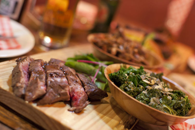 Barbecue meat with vegetables Beef Close-up Cutting Board Day Food Food And Drink Freshness Indoors  Meat No People Ready-to-eat Rib Serving Size Steak Table