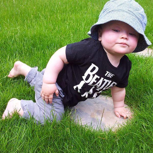 Cute Baby Toddler  Sunhat Hat Floppy Grass Green SteppingStone Beatles Summer Warm Hot Barefoot