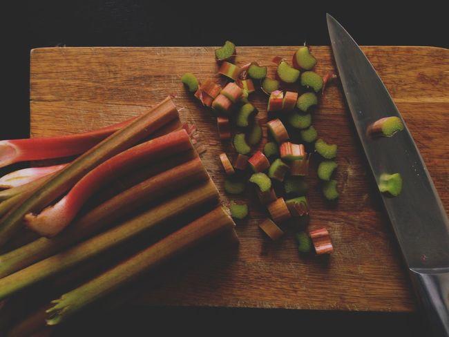Rhubarb Fresh From My Garden Cutting Board Cutting Kitchen Knife Sharp Knife Kitchen Tools Preparing Food Baking Ingredients