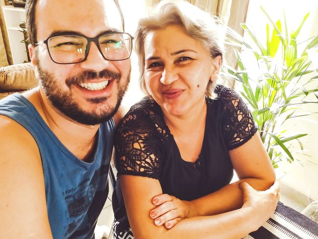 Two People Smiling Happiness Adult Portrait Love Mom And Son Mothersday Eyeglasses  Women Brazil Illuminated Indoors  People Motoz