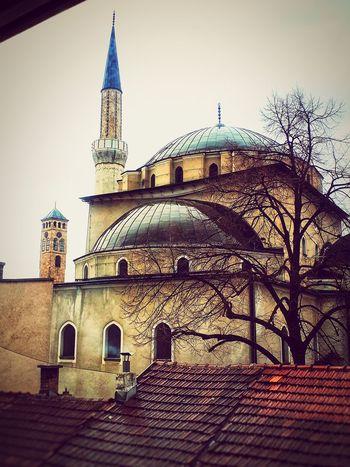 Mosque Sarajevo City Sky Architecture Building Exterior Built Structure Historic Clock Tower