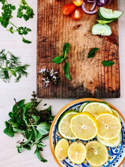 Chef's Table EyeEmNewHere Flat Lay Food Food And Drink Healthy Eating Fruit Citrus Fruit Wellbeing Freshness Lemon Still Life Herb Table High Angle View SLICE EyeEmNewHere EyEmNewHere EyeEmNewHere