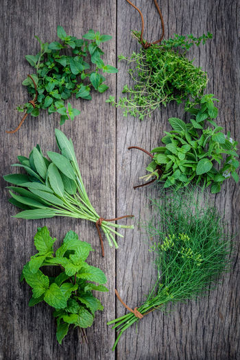 Directly above shot of vegetables and herbs on table