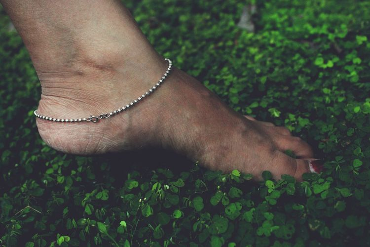 Low section of woman wearing anklet in foot on plant