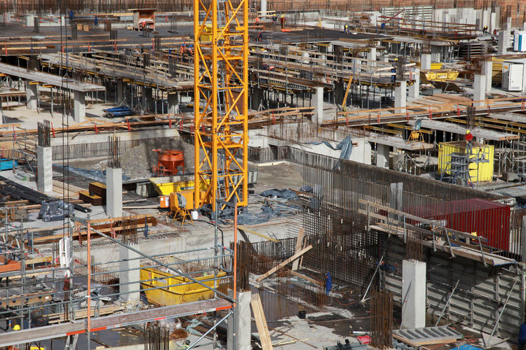 High angle view of crane at construction site