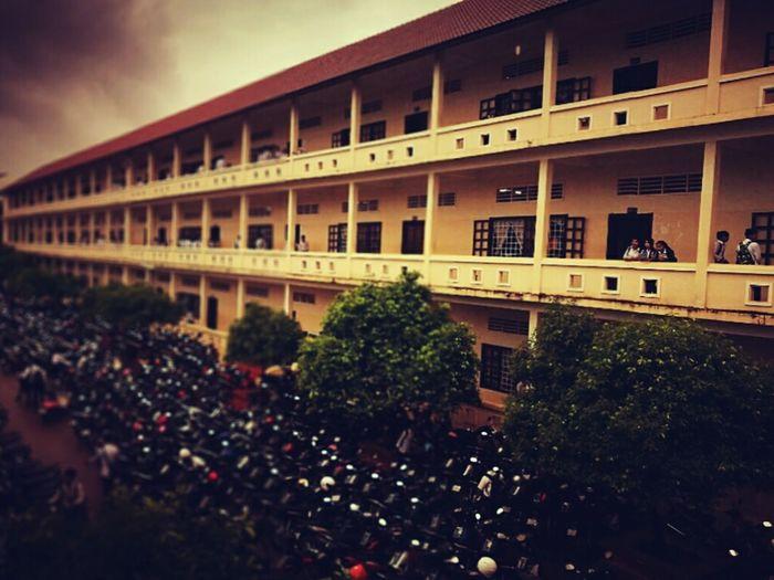 School Memory , shot of building Motorcycles Building School Students Trees
