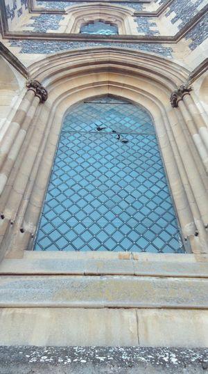 Window Perspective England Historical Building Architecture Castle Arched Windows Lead Light Diamonds Stonemason