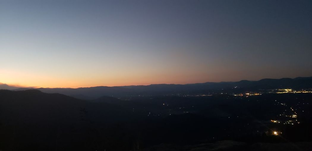 Astronomy Tree Mountain Sunset City Sky Landscape Mountain Range