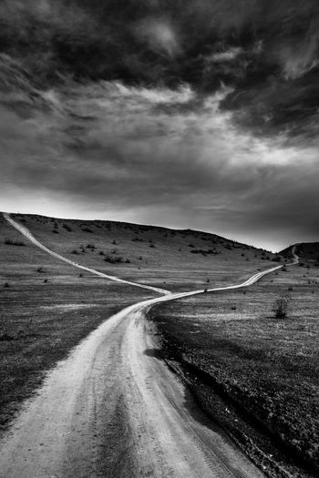 Black & white landscape Nature Landscape Sky Road Nature Landscape The Way Forward Outdoors Scenics Day Sky Beauty In Nature No People Tire Track Track - Imprint