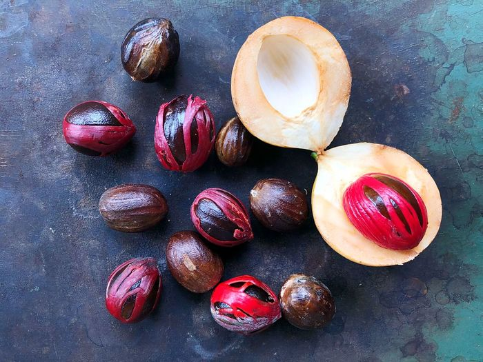 Food Natural Red Seed Herb ASIA Nutmeg Seed Nutmeg Muskat EyeEm Selects Food Sweet Food Food And Drink Still Life Directly Above Sweet Fruit Temptation High Angle View No People Healthy Eating