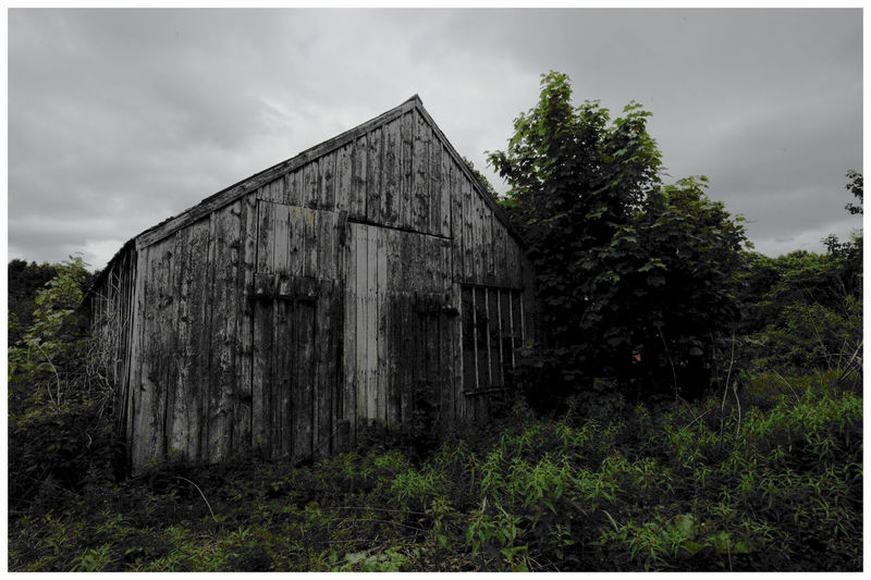 Corrugated Iron Roofs Cloudy Skies Wooden Structure Light And Shadow Glamis Scotland Textured  Light And Shadows