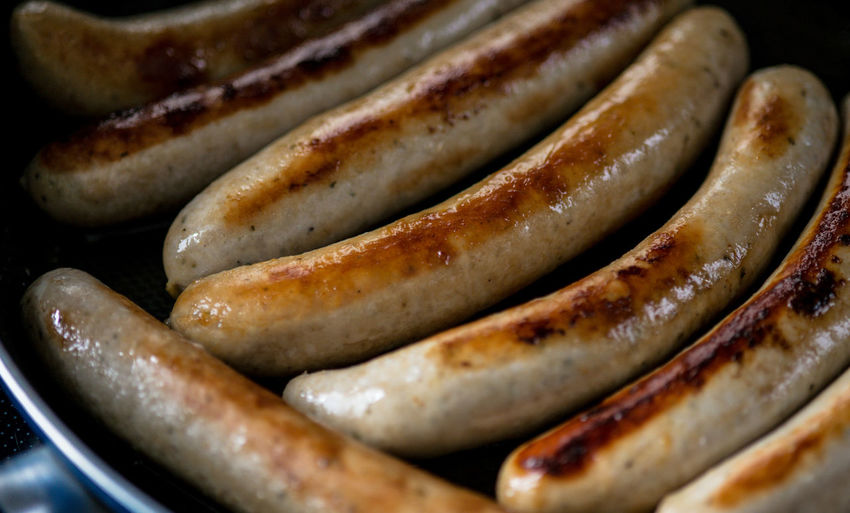 Close-up of sausages