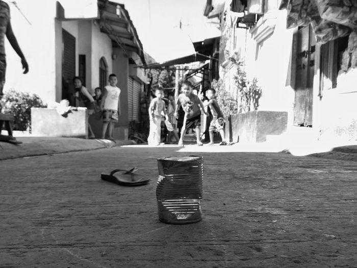 Playing Outside Childhood Child Leisure Activity Street Streetphotography Blackandwhite Eyeem Philippines Mobilephotography