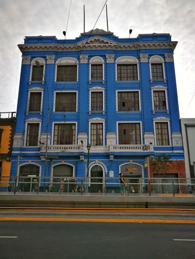 Street Architecture Building Exterior Façade Built Structure City Day Lima-Perú Photography Outdoors City Architecture Cityscape Streetphotography Blue Color Paint Color Photography Urban