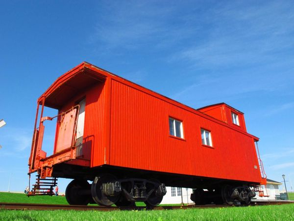 Groods Train Train Red Train Red Pei Prince Edward Island Blue Sky Travel Photography