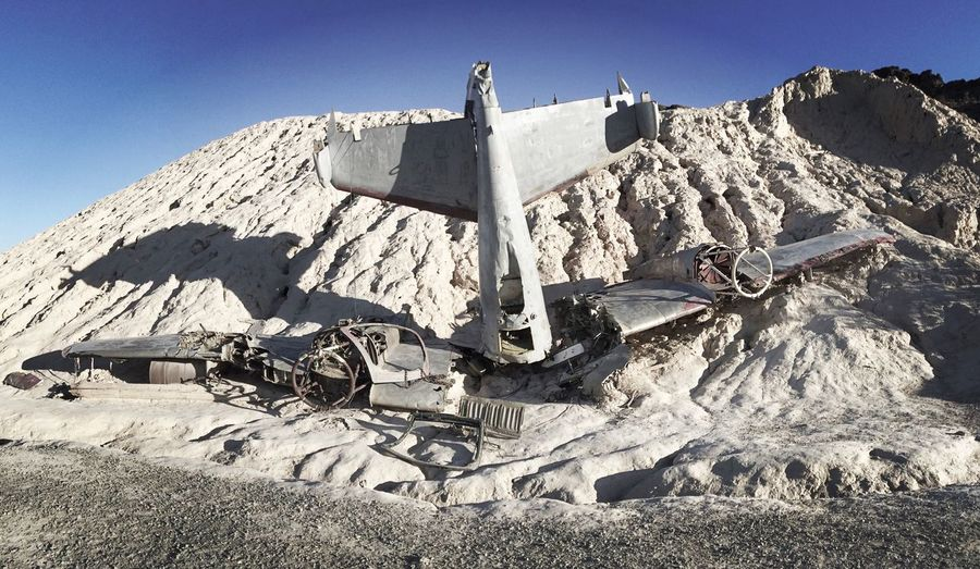 Airplane Crash In Nevada Desert On Sunny Day