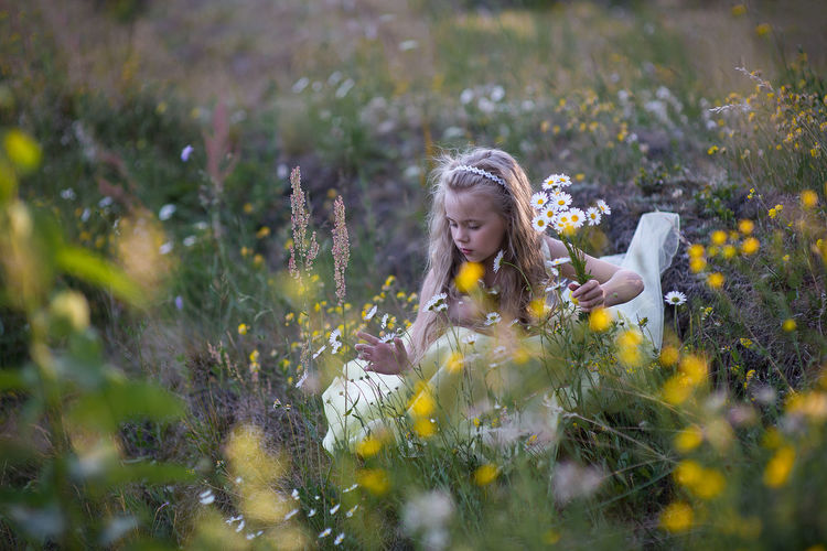 Little girl in a flowering forest in the meadow Beauty In Nature Blond Hair Child Childhood Children Only Field Flower Flower Head Fragility Girls Grass Growth Leisure Activity Lifestyles Little Girl Natural Beauty Nature One Girl Only One Person Outdoors People Portrait Selective Focus Uncultivated Yellow Sommergefühle