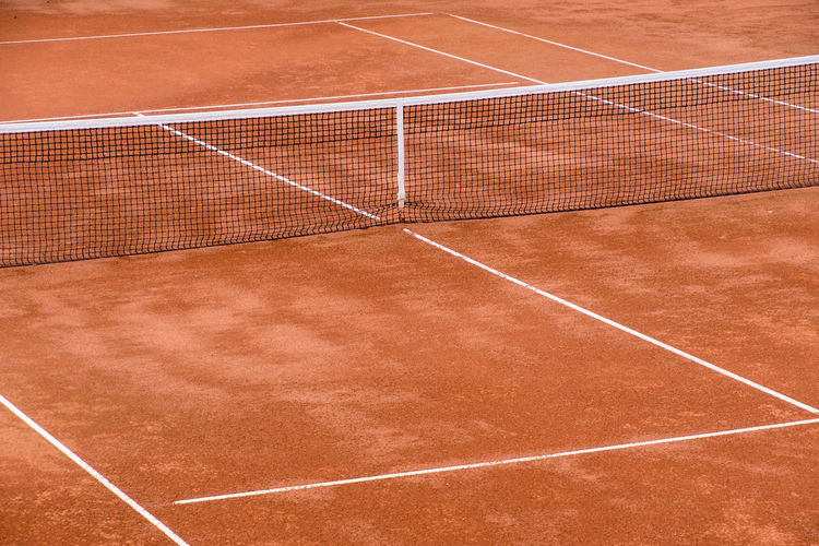 Field Place Red Absence Ash Close-up Court Day High Angle View No People Outdoors Racket Sport Sand Slag Sport Sports Venue Tennis Tennis Net