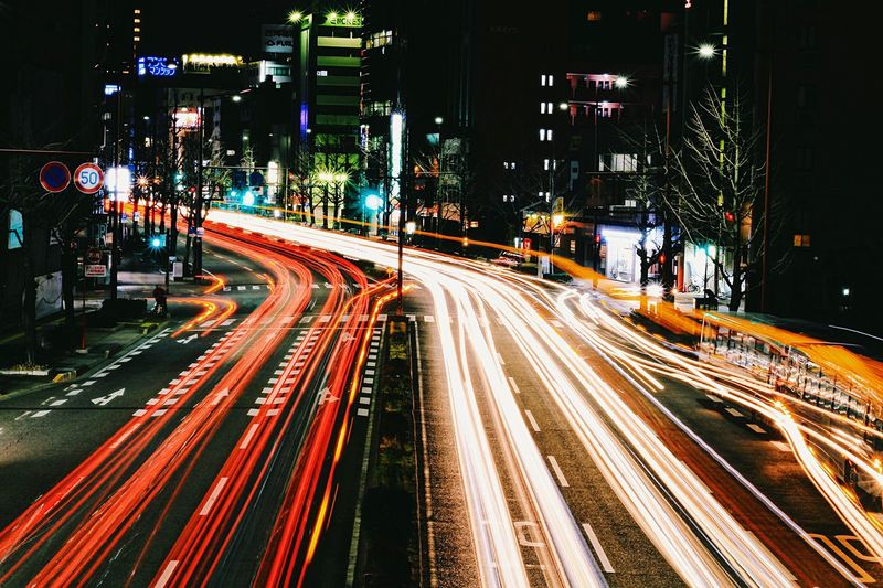 Night Light Trail Long Exposure Traffic Illuminated City Motion Speed Transportation Street Road Street Light City Life High Angle View Car Outdoors No People Rush Hour High Street City Street City Life EyeEmBestPics EyeEm Gallery VSCO Japan Photography