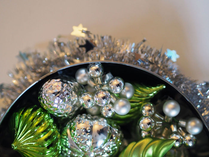 Bowl Celebrating Celebration Christmas Christmas Decorations Christmas Time Christmastime Close-up Decor Decorating Decoration Decorations Decorative Detail Focus On Foreground Green Silver