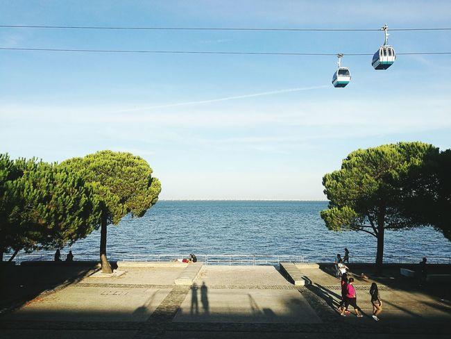 Blue Sky Tourism Cable Sea Water Calm Seascape Friendstime
