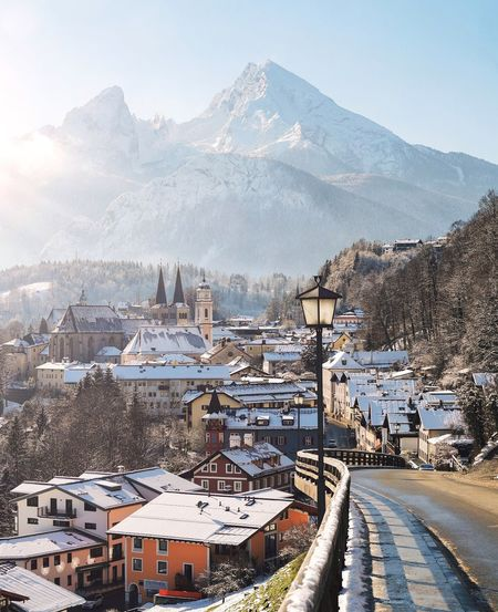 Deutschland Bayern Munich Architecture Mountain Winter Building Exterior Built Structure Snow Sky Cold Temperature Nature Building No People Mode Of Transportation Snowcapped Mountain