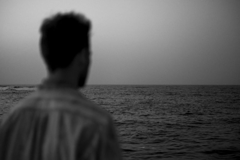 Next B&w Black And White Clear Sky Fuji Future Horizon Over Water Lifestyles Nature One Person Outdoors Rear View Scenics Sea Sky Standing Unreal Water