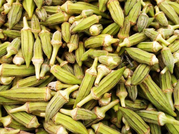 Full frame shot of okra for sale at market stall