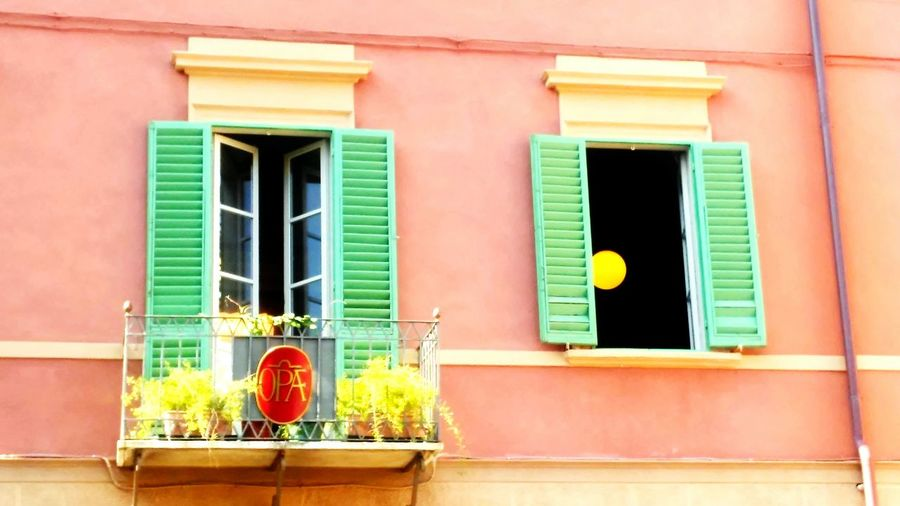 Window Architecture Built Structure Building Exterior Potted Plant Day Green Color Window Frame Outdoors Red No People Piza, Italy
