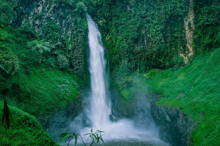 Exotic waterfall with green moss