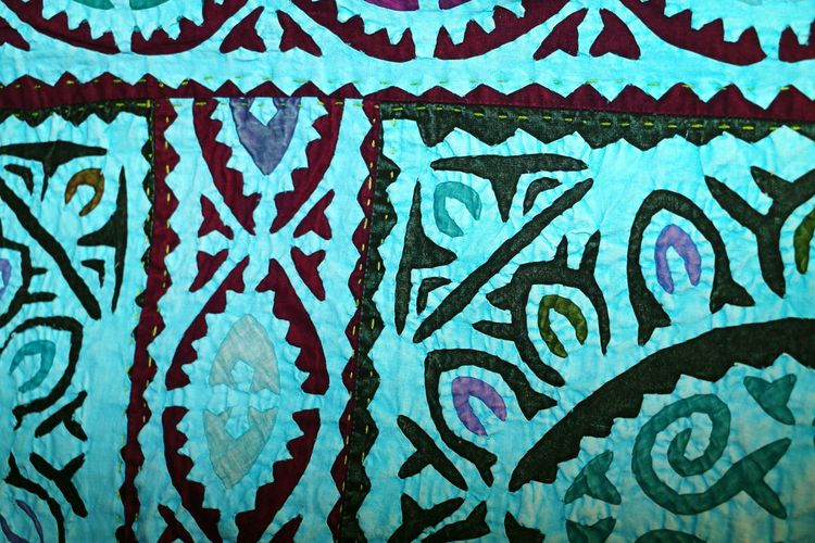 Embroidered Teal Color Backgrounds Full Frame Multi Colored Pattern Close-up ArtWork Textured  Art And Craft