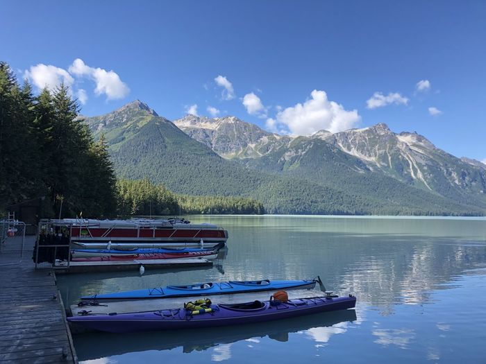 Boat on lake by mountains against sky