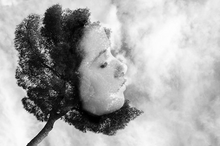 Portrait of woman looking at snow
