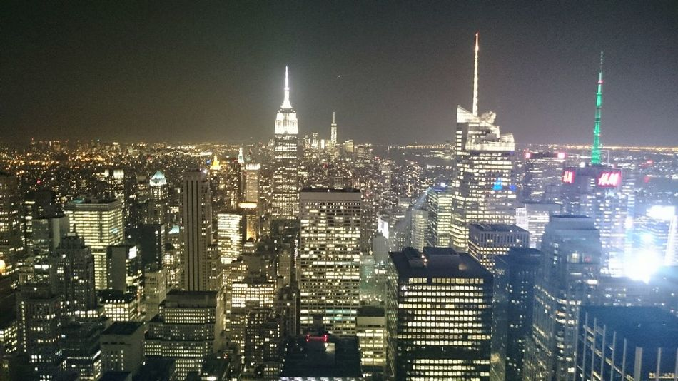 view from Rockerfeller Edge Of The WorldNightphotography Empire State Building Bright Light City Time Square New York New York At Night I Heart New York