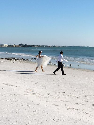 Beach Sand Two People Bride And Groom Sea Nature Real People