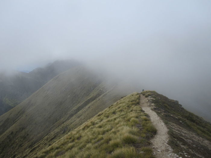 Fog Mountain Tranquil Scene Scenics - Nature Tranquility Beauty In Nature Landscape Environment Non-urban Scene Nature Sky No People Day Land Remote Grass Outdoors Plant Mountain Range Mountain Peak Trail New Zealand Kepler Track